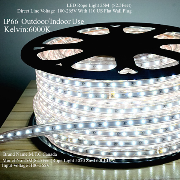 Home mtc canada led light m0003 led rope light 25m825 feet roll 5050 smd direct line voltage 100v 265v 60ledm outdoor and indoor use ip66 cool white colour 6000k aloadofball Image collections