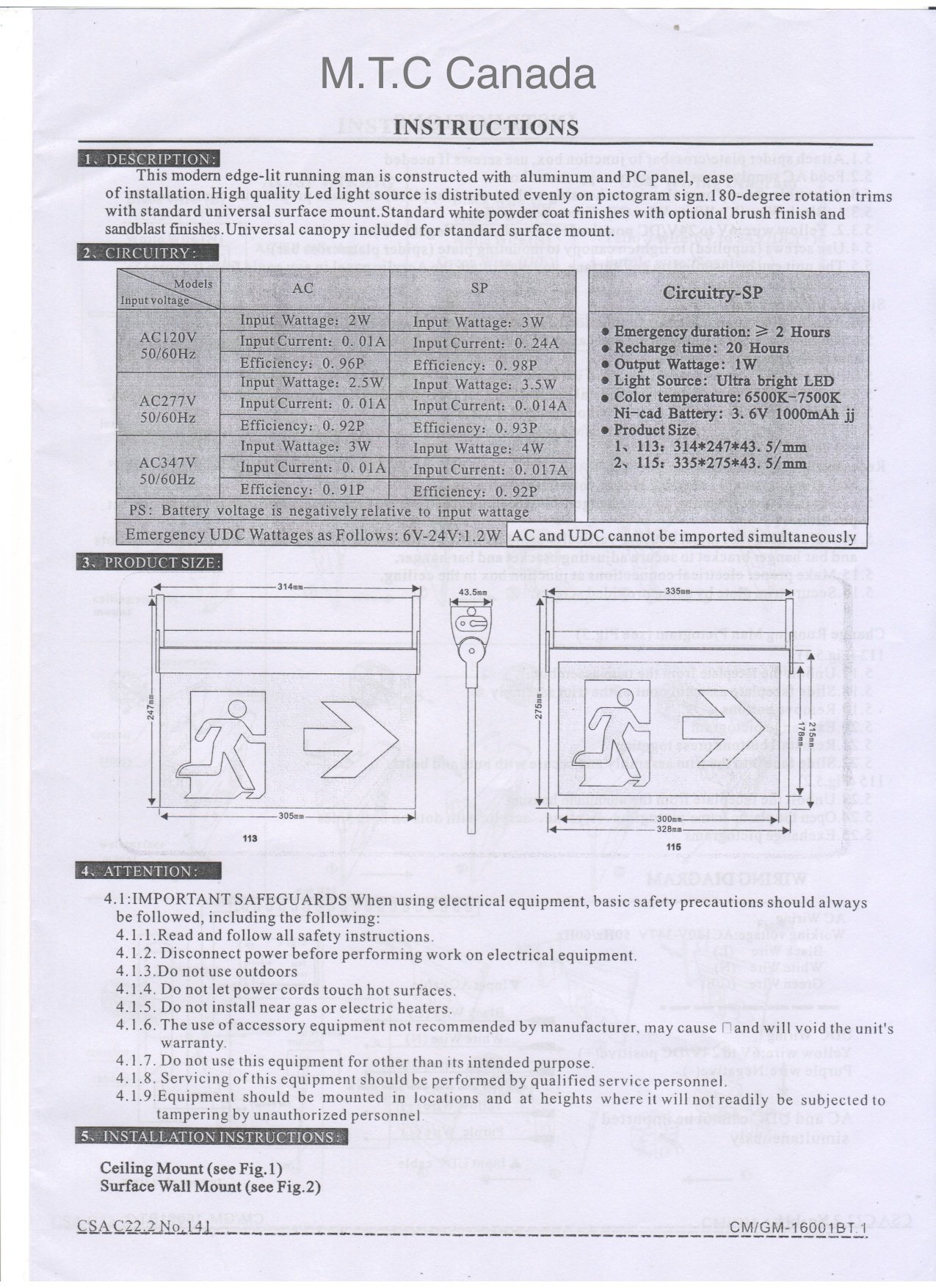 Home Mtc Canada Led Light Exit Sign Wiring Diagram 120v 277v Dimensions
